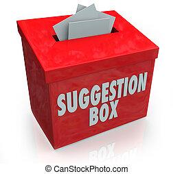 boîte, suggestion, idées, comments, soumission