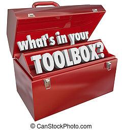boîte, techniques, est, métal, expérience, ton, boîte outils, outillage, rouges