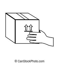 boîte, tenant main, emballage, scellé, monochrome, contour