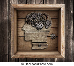 boîte, travail, pensée, concept., cerveau, dehors, creativity.