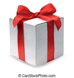 boîte, vecteur, présent, bow., rouges