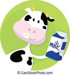 boîte, vert, vache lait, heureux