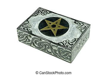 boîte, vie, fond, mystique, ésotérique, isolé, signe, découpé, ornements, pierre, blanc, encore, pentagram, fermé