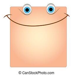 boîte, visage smiley, vecteur, sourire, heureux