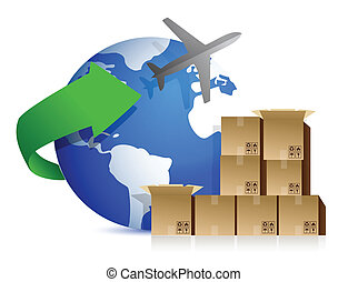 boîtes, avion, expédition