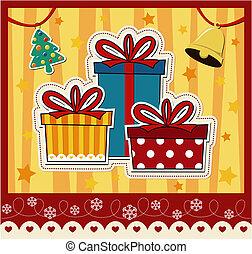 boîtes, cadeau, noël carte, salutation