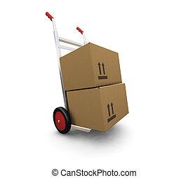 boîtes, camion, main