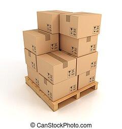 boîtes carton, bois, palette
