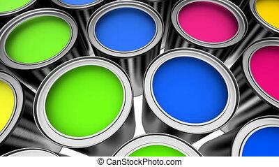 boîtes, coloré, peinture