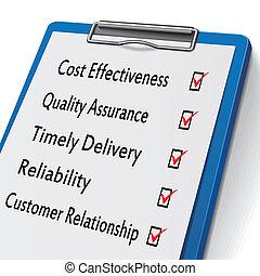 boîtes, concepts, business, presse-papiers, chèque, marqué