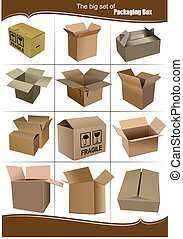 boîtes, conditionnement, ensemble, grand, carton