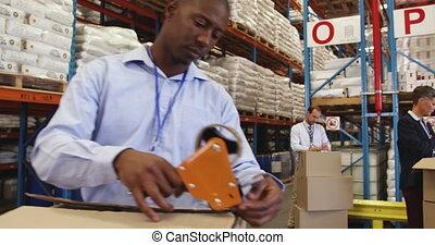 boîtes, emballage, personnel, 4k, livraison, entrepôt