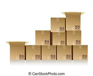boîtes, empilé haut