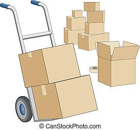 boîtes, en mouvement, chariot