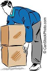 boîtes, en mouvement, illustration, douleur, homme, vecteur, dos, levage, concept