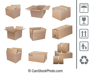 boîtes, expédition, collection
