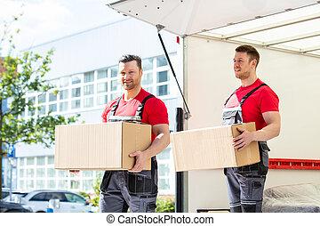 boîtes, heureux, mâle, tenue, carton, déménageurs