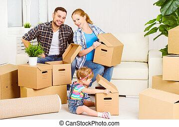boîtes, heureux, nouvelle famille, home., carton, en mouvement