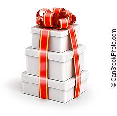 boîtes, paquet, cadeau