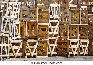 boîtes, pile, grand, bois, emballage, utilisé