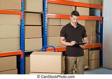 boîtes, presse-papiers, ouvrier, carton, écriture