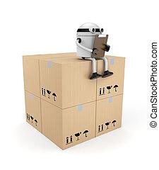boîtes, presse-papiers, robot
