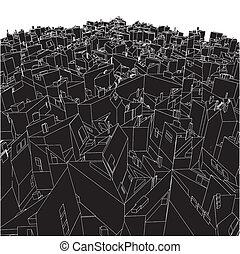 boîtes, résumé, cube, ville, urbain