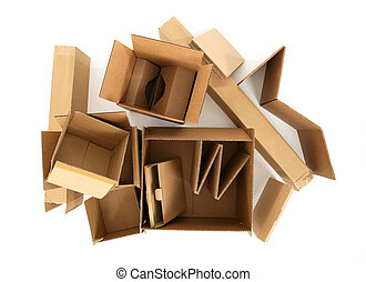 boîtes, sommet, carton, vue