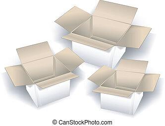 boîtes, trois