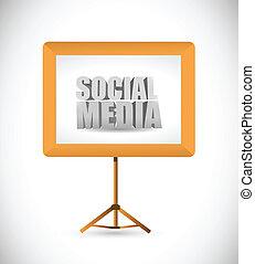 board., média, blanc, social, signe