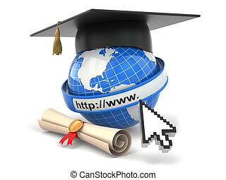 board., mortier, diplôme, e-learning., globe