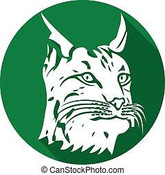 (bobcat, tête plate, icône, lynx