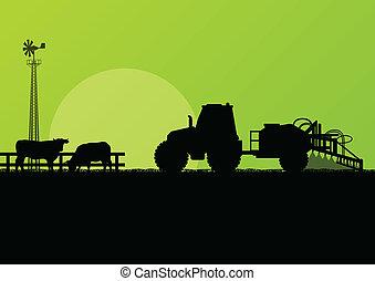 boeuf, champs, bétail, illustration, vecteur, tracteur, fond, cultivé, pays, agriculture, paysage