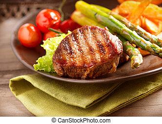 boeuf, légumes, grillé, bifteck, viande