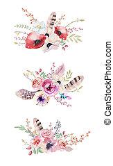 boho, printemps, aquarelle, floral, vendange, fleurs, bouquet., feuille