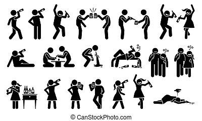 boire, alcoolique, femme, drunk., jusqu'à ce que, homme, boissons alcoolisées