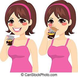 boire, femme, kola