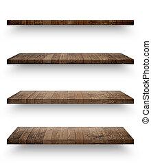 bois, étagère, gabarit, isolé, ensemble