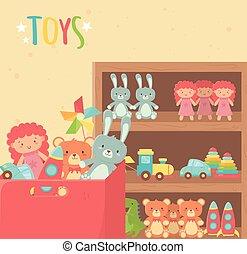 bois, étagère, jouets, carton, divers, boîte