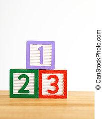 bois, 123, jouet, bloc