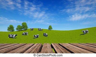 bois, 4k, table, paysage rural, perspective