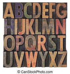 bois, alphabet, type, letterpress, vendange
