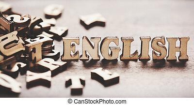 bois, anglaise, fait, mot, letters.