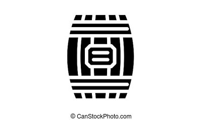 bois, animation, glyph, icône, baril