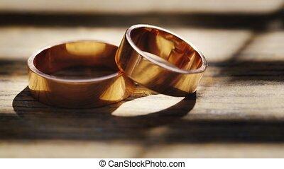 bois, anneaux, texture, mariage