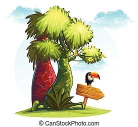 bois, arbres, toucan, illustration, indicateur, oiseau, jungle