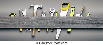 bois, arrière-plan., gris, main, illustration, outils, 3d