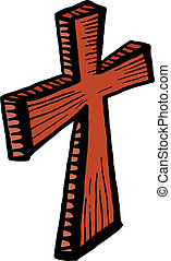 bois, art, croix, agrafe