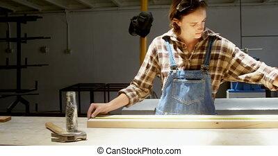 bois, atelier, mesurer, charpentier, planche, 4k