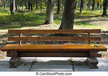 bois, automne, garez banc